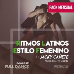 RITMOS LATINOS/ESTILO FEMENINO - Jacky Cañete - ONLINE ZOOM MARTES 20:00 HS -   PACK MAYO 11/18